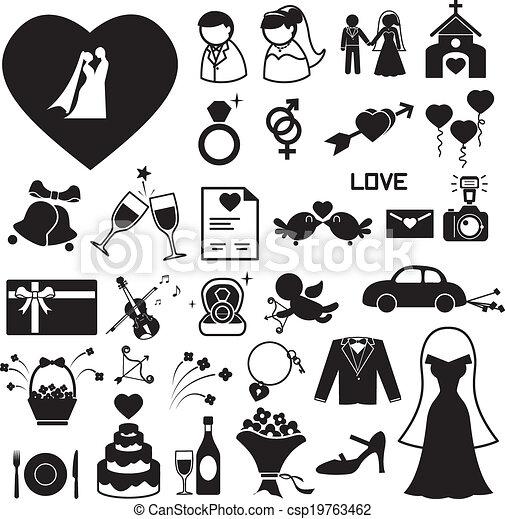 ślub, ikony, komplet, eps, ilustracja - csp19763462