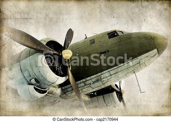 śmigło, airplain, retro - csp2170944
