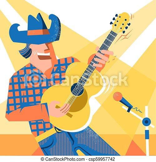 śpiewak, palying, koncert, kowboj, święto, kraj, muzyk, dżinsy, styl, guitar., muzyka, kapelusz, człowiek - csp59957742