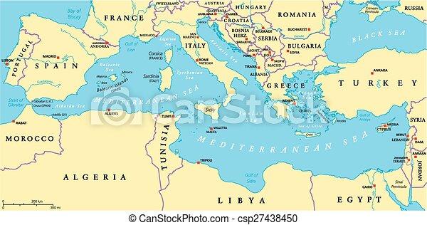 Srodziemnomorski Okolica Polityczny Morze Ziemie Polnoc