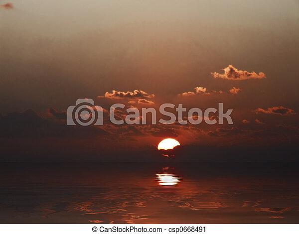 śródziemnomorski, zachód słońca - csp0668491