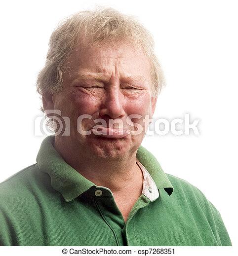 środek, płacz, przewrócić, emocjonalny, wiek, obsadzać twarz, senior - csp7268351