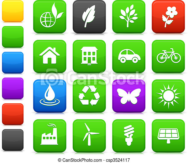 środowisko, elementy, komplet, ikona - csp3524117