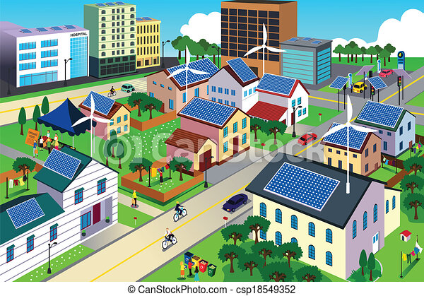 środowisko, miasto, zielony, przyjacielski, scena - csp18549352