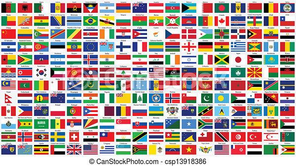 świat, alfabetyczny, bandery - csp13918386