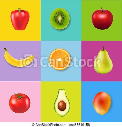 świeży, barwny, tło, owoce - csp68619158