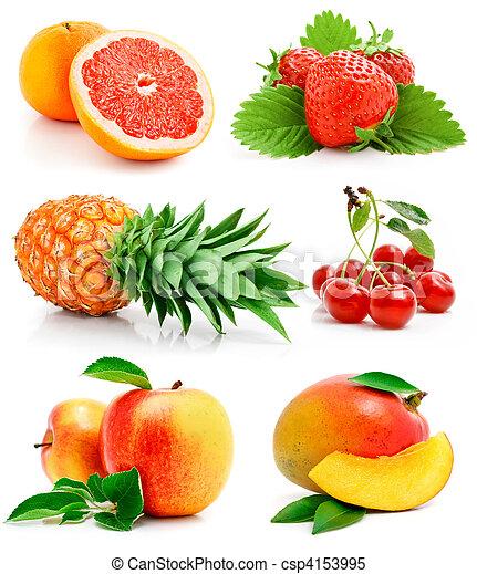 świeży, liście, komplet, zielony, owoce - csp4153995