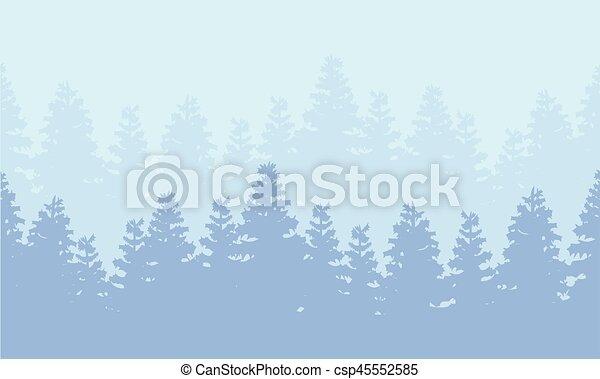 świerk, sylwetka, las, krajobraz - csp45552585