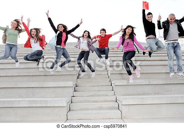 škola, část, univerzita, čas, děti, silný, nebo, šťastný - csp5970841