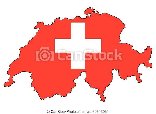 švýcarsko, -, celostátní mapovat, nárys, state flag - csp89648051
