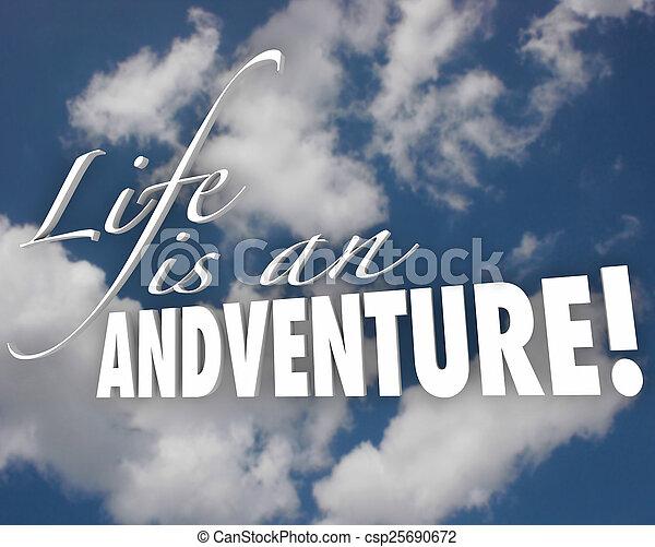 życie, chmury, motywacja, przygoda, słówko, 3d, natchnienie - csp25690672