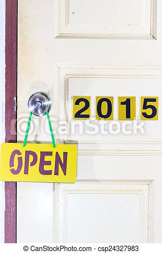 życie, drzwi, stary, 2014, 2015, nowy, otwarty - csp24327983