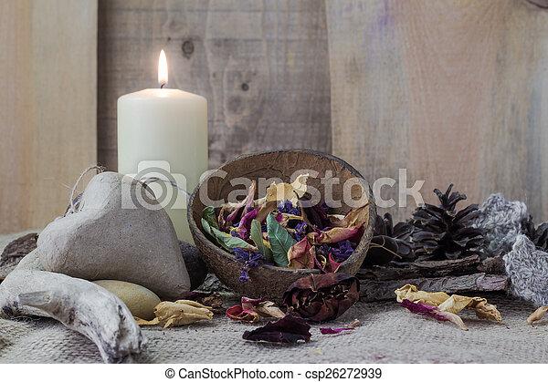 życie, elementy, kamień, zdrój, świeca, wciąż - csp26272939