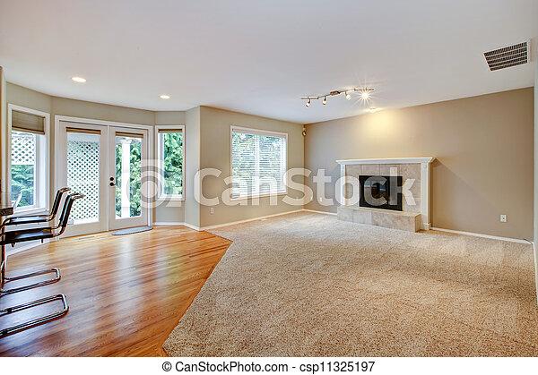 życie pokój, wielki, jasny, nowy, fireplace., opróżniać - csp11325197