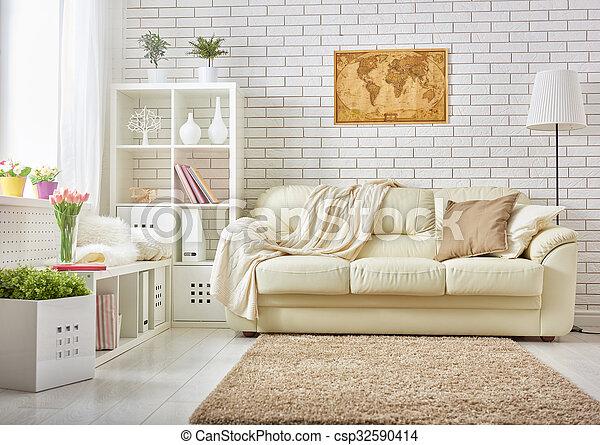 żyjący, nowoczesny pokój - csp32590414