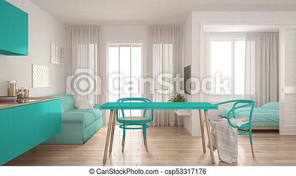 żyjący Turkus Pokój Nowoczesny Wewnętrzny Tło Projektować Sypialnia Izba Mały Biały Minimalny Kuchnia