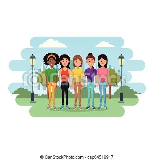 άνθρωποι , γελοιογραφία , νέος  - csp64519917