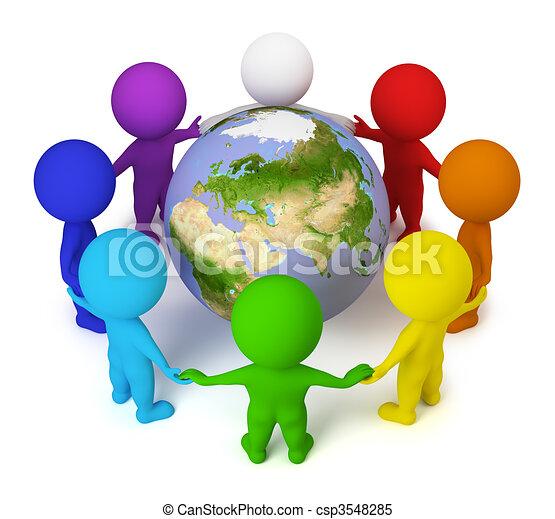 άνθρωποι , ειρήνη , - , μικρό , γη , 3d  - csp3548285
