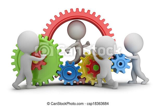 άνθρωποι , - , μηχανισμός , ζεύγος ζώων , μικρό , 3d  - csp18363684