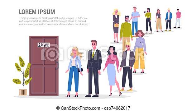 άνθρωποι , toilet., αναμονή , wc , ουρά , door. - csp74082017