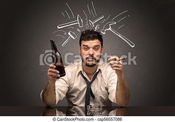 άντραs , γενική ιδέα , απογοητευμένος , επακόλουθο μέθης , μεθυσμένος  - csp56557086