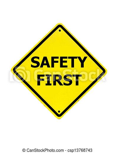 άσπρο , πρώτα , ασφάλεια , φόντο , σήμα  - csp13768743
