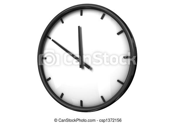 άσπρο , ρολόι , φόντο , ώρα  - csp1372156