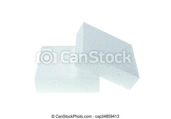 άσπρο , polystyrene , απομονωμένος , φόντο , αφρίζω  - csp34859413