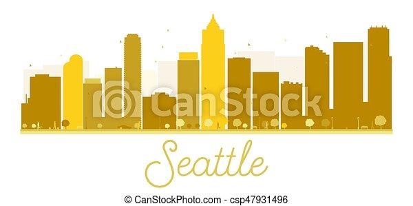 άστυ γραμμή ορίζοντα , seattle , χρυσαφένιος , silhouette. - csp47931496