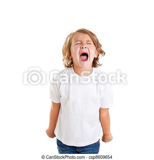 έκφραση , άσπρο , σκούξιμο , παιδιά , παιδί  - csp8609654