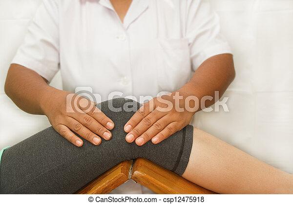 έλεγχος , γόνατο , θεραπευτής , άρθρωση  - csp12475918
