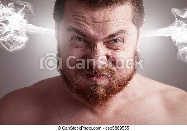 ένταση , γενική ιδέα , θυμωμένος , - , κεφάλι , ανατινάζομαι , άντραs  - csp5889555