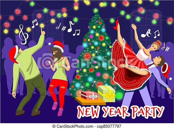 έτος , ανδρόγυνο , εικόνα , καινούργιος , χορός , xριστούγεννα , διακεκριμένη θέση. , παραμονή , όχλος , φόντο , μικροβιοφορέας , δυο , s , άνθρωποι , πάρτυ  - csp85077797