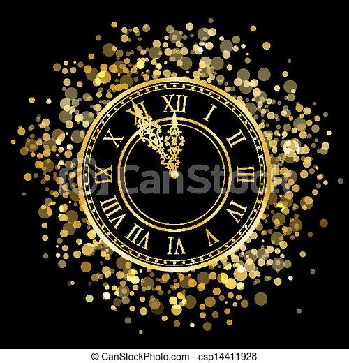 έτος , καινούργιος , μικροβιοφορέας , λαμπερός , ρολόι  - csp14411928