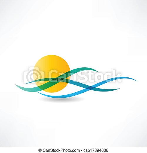 ήλιοs , abstractly, θάλασσα , εικόνα  - csp17394886