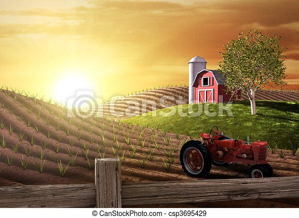 αγρόκτημα , πρωί  - csp3695429