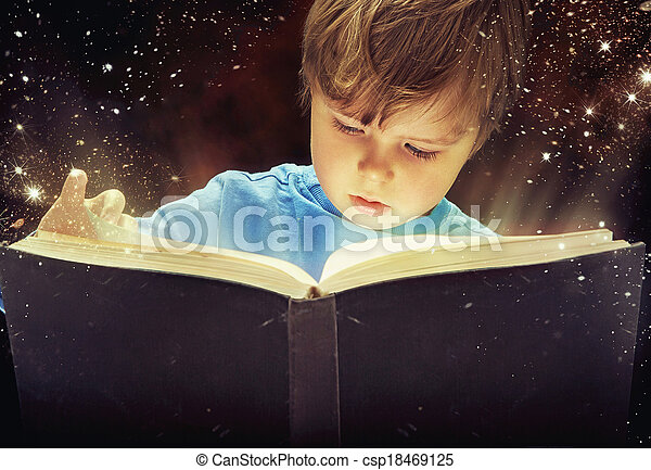 αγόρι , βιβλίο , μαγεία , νέος , έκθαμβος  - csp18469125