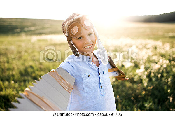 αγόρι , λιβάδι , φύση , flying., παίξιμο , μεγάλα ματογυαλιά , μικρό , παρασκήνια , εάν  - csp66791706