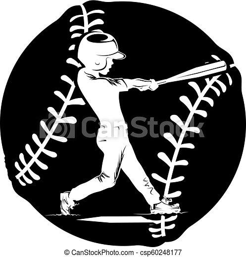 αγόρι , μπέηζμπολ , περίγραμμα , κτύπημα με ρόπαλο  - csp60248177
