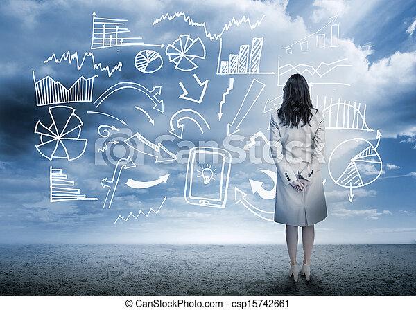 ακάθιστος , επιχειρηματίαs γυναίκα , ατενίζω , δεδομένα , flowchart  - csp15742661