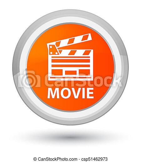 ακμή , ακροτομώ , ταινία , κουμπί , icon), πορτοκάλι , στρογγυλός , (cinema - csp51462973