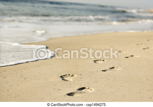 ακτογραμμή , footprints. - csp1494275