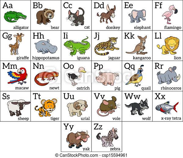 αλφάβητο , γελοιογραφία , ζώο , χάρτης  - csp15594961