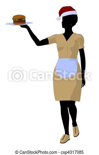 αμερικανός , περίγραμμα , σερβιτόρα , εικόνα , αφρικανός  - csp4317085