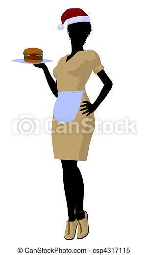 αμερικανός , περίγραμμα , σερβιτόρα , εικόνα , αφρικανός  - csp4317115