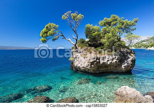 ανέφελος εικοσιτετράωρο , κροατία , brela, παραλία , croatian  - csp15853027