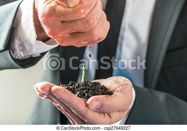 αναβλύζω , εργοστάσιο , πάνω , νερό , πράσινο , μικρό , επιχειρηματίας  - csp27649227