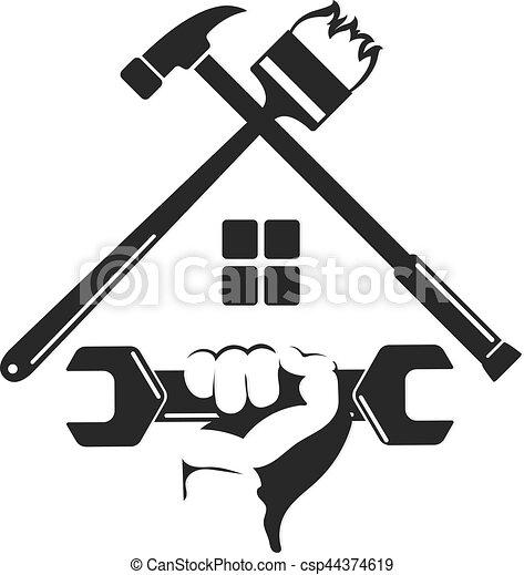 ανακαινίζω , σύμβολο , εργαλείο , σπίτι  - csp44374619