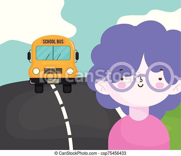 αναμονή , λεωφορείο , γυαλιά , αγόρι , ιζβογις , δρόμοs , ευτυχισμένος  - csp75456433