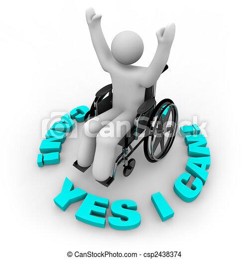 αναπηρική καρέκλα , - , πρόσωπο , αδίστακτος , μπορώ , ναι  - csp2438374